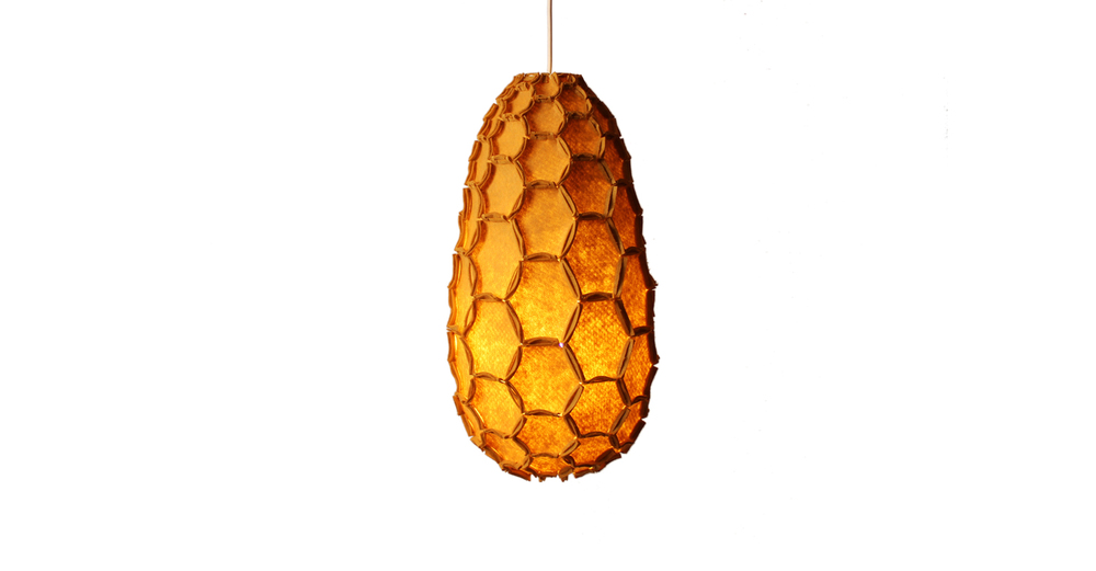 Nectar lampshade Full mustard - Designer Rebecca Asquith.jpg