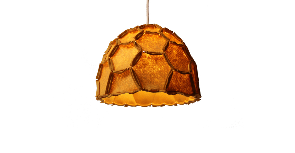 Nectar lampshade Half mustard - Designer Rebecca Asquith.jpg