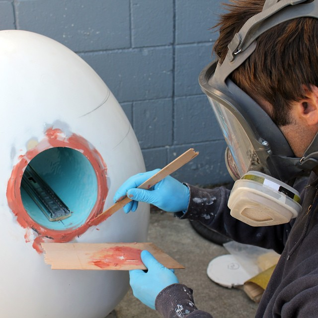 #BigEggHuntNZ Tim working on Designtree's egg: 'Open'. (at Lyall Bay)