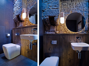 Pil Pendant lights up Bell Street Bathroom   Dave Nichol from the Australian architecture firm  Robert Nichol & Sons  just sent us through these beautiful images taken by  Rohan Young  of a slick bathroom they've created in Fitzroy.