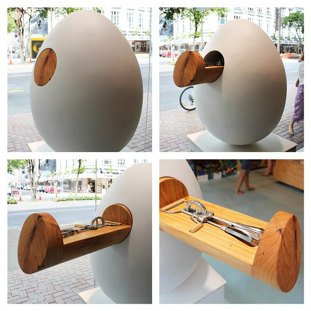 Designtree's egg 'Open' has been spotted somewhere in Wellington. The push touch drawer opens to reveal the heart of the piece. Download the special hunting app or map at: www.thebigegghunt.co.nz