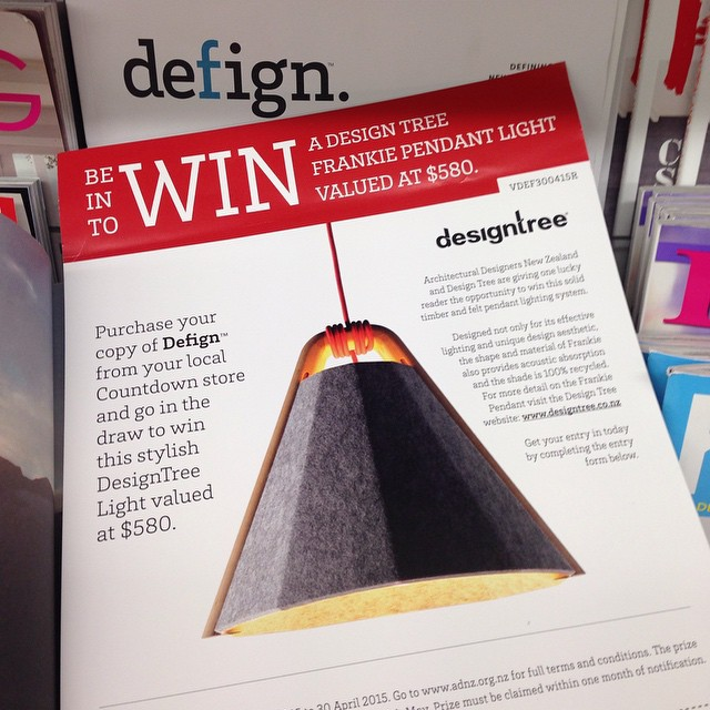Win a Designtree Frankie Pendant with Defign Magazine. Pick up your copy of Defign to enter. #defignmagazine #frankiependant #designtree #architecturaldesignersnewzealand