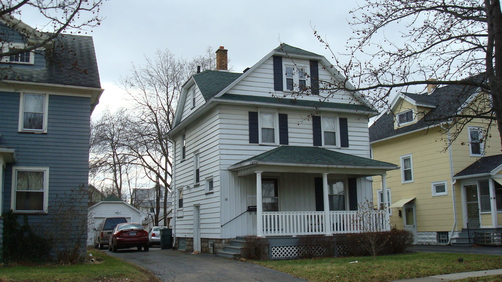 Convenient For Winter 1 Car Garage With Remote Opener White Newly Renovated Student Housing For Rent In Rochester New York.  Newly Renovated with all new furnishings and LED lighting. 69 Congress Ave is a beautiful home that is clean and affordable for students.