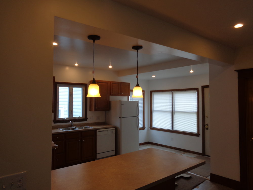 Newly Renovated Kitchen with Brand New Lighting.  Rochester Homes for Rent for Smart Students.