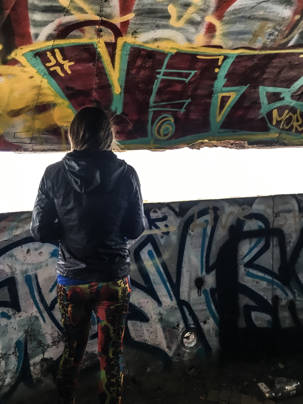Inside the bunker. every square inch covered in graffiti. chippie's pants.