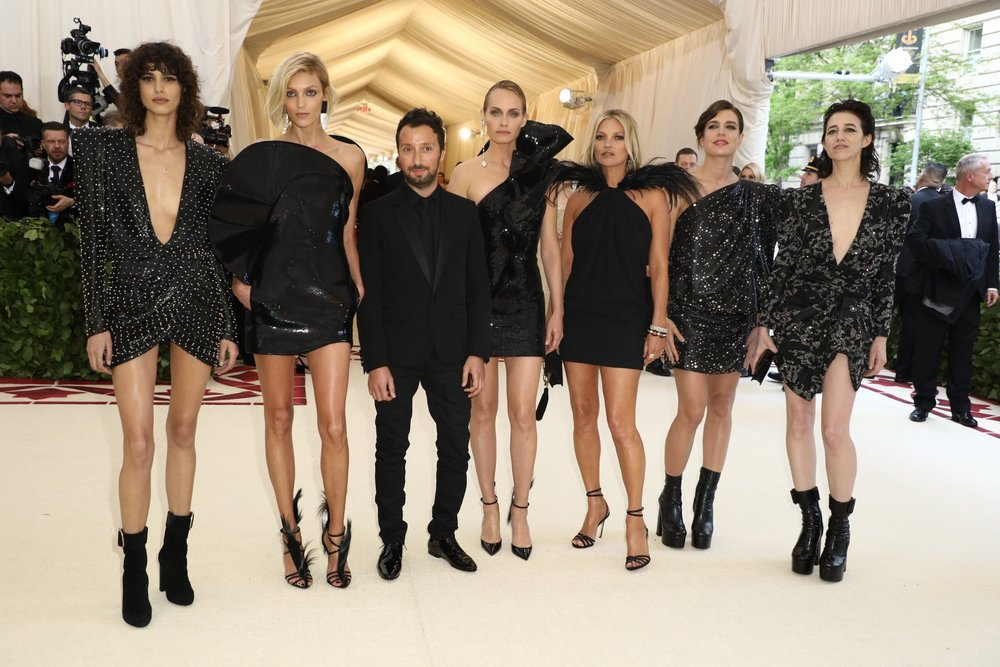 models  mica arganaraz ,  anja rubik ,  YSL  CREATIVE DIRECTOR  anthony vaccarello ,  amber valletta ,  kate moss ,  Charlotte Casiraghi , &  Charlotte Gainsbourg.