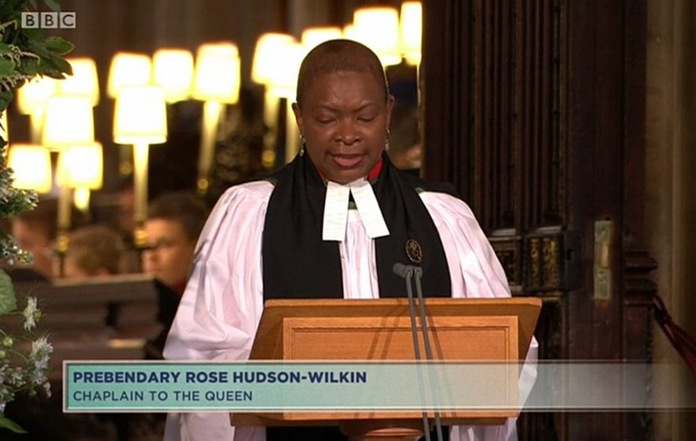 - THE DUKE AND DUCHESS of sussex WERE LED IN PRAYER BY The Reverend Prebendary Rose Hudson-Wilkin, chaplain to the queen. HUDSON-wilkin is the first black woman to hold the role of Queen's chaplain;  She is also Chaplain to the Speaker of the House of Commons & Priest Vicar at Westminster Abbey.