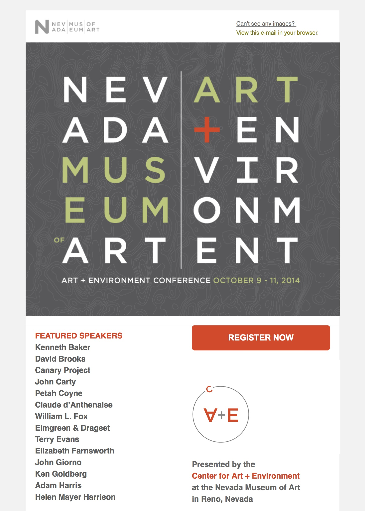 Registration now open for 2014 Art + Environment Conference