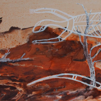 Trisha Carrol & Mandy Martin.  Ochres and binder on paper, 30 x 80cms