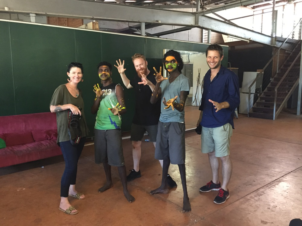 Natalie Carey, Coordinator of Wiwa Media Unit, Mathias Cameron, Wiwa artist, Alexander Boynes, artist, Sirus Rostron, Wiwa artist, Hugo Sharp photographer/ Videographer. Photo Mandy Martin