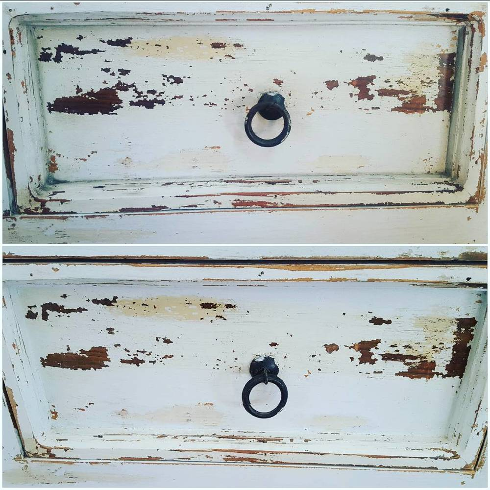 The top image shows how my Clear Beeswax Polish, Antiquing wax and Aging Dust really transform a piece from freshly painted to authentically worn!