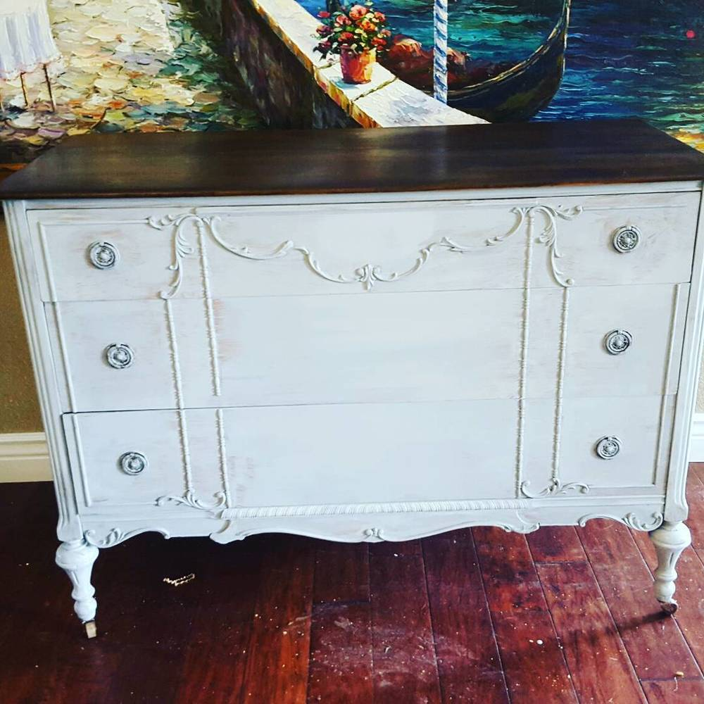 The first coat of Milk Paint always looks a bit funky..I often paint right in my living or dining room!