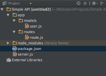 so an app directory with two sub directories models and routes and four files our userjs model the routing file routejs our packagejson file and the