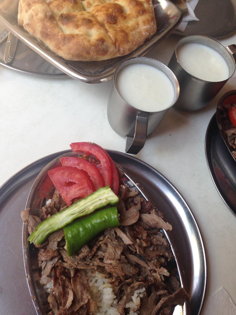 Homemade ayran with pilav üstüdöner at Karadeniz in Beşiktaş
