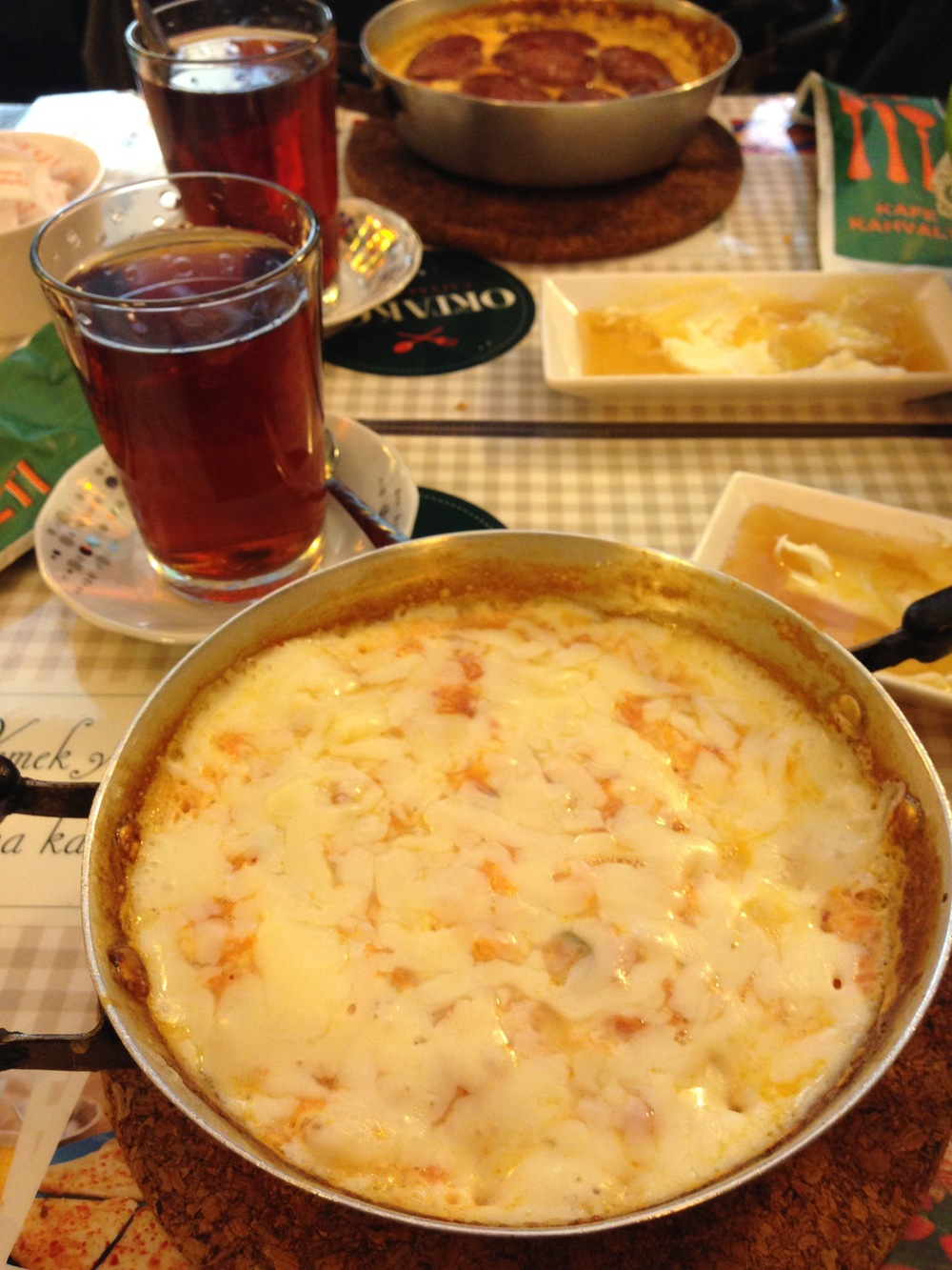 Menemen with kaşar peyniri on top
