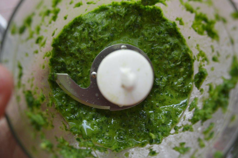 Parsley, lemon juice, garlic, and olive oil blended in food processor to save time!