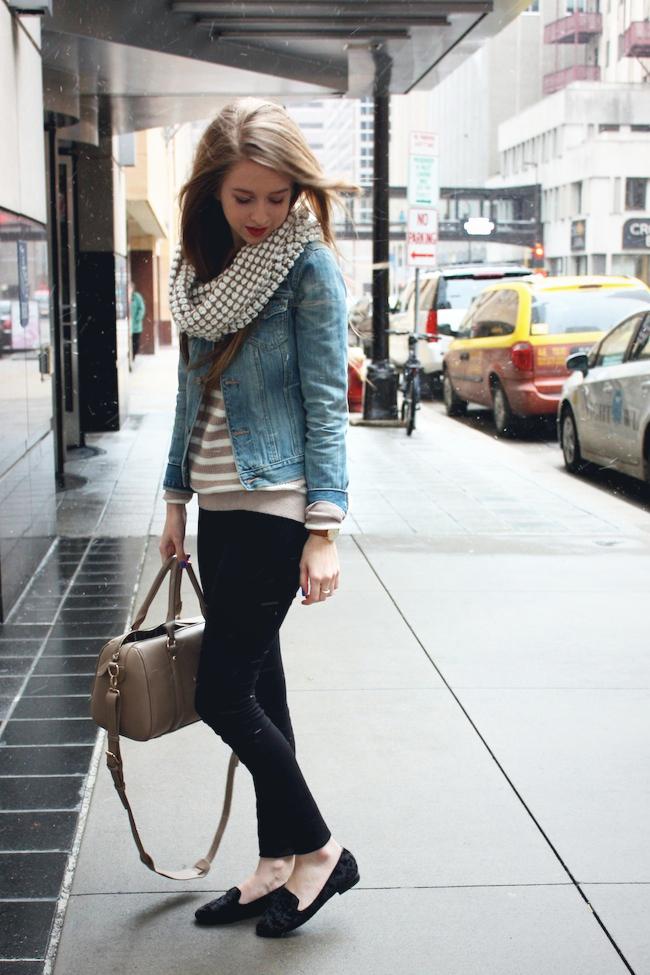 minneapolis_fashion_blog_blogger_madewell_heart_sweater_abercrombie_denim_jacket_jcrew_pixie_pants_black_velvet_loafers_urban_outfitters_francesca's_gap_cowl_scarf_red_lipstick_revlon2.jpg