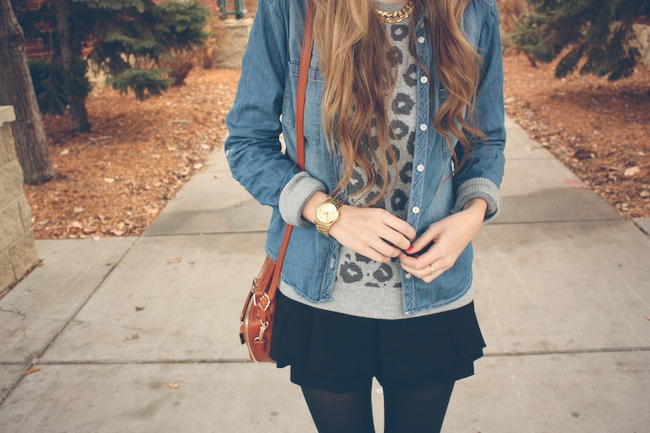 minneapolis_fashion_blog_lineanddot_samedelman_petty_ankleboots_denimshirt_leopard_sweater_gap_francescas3.jpg