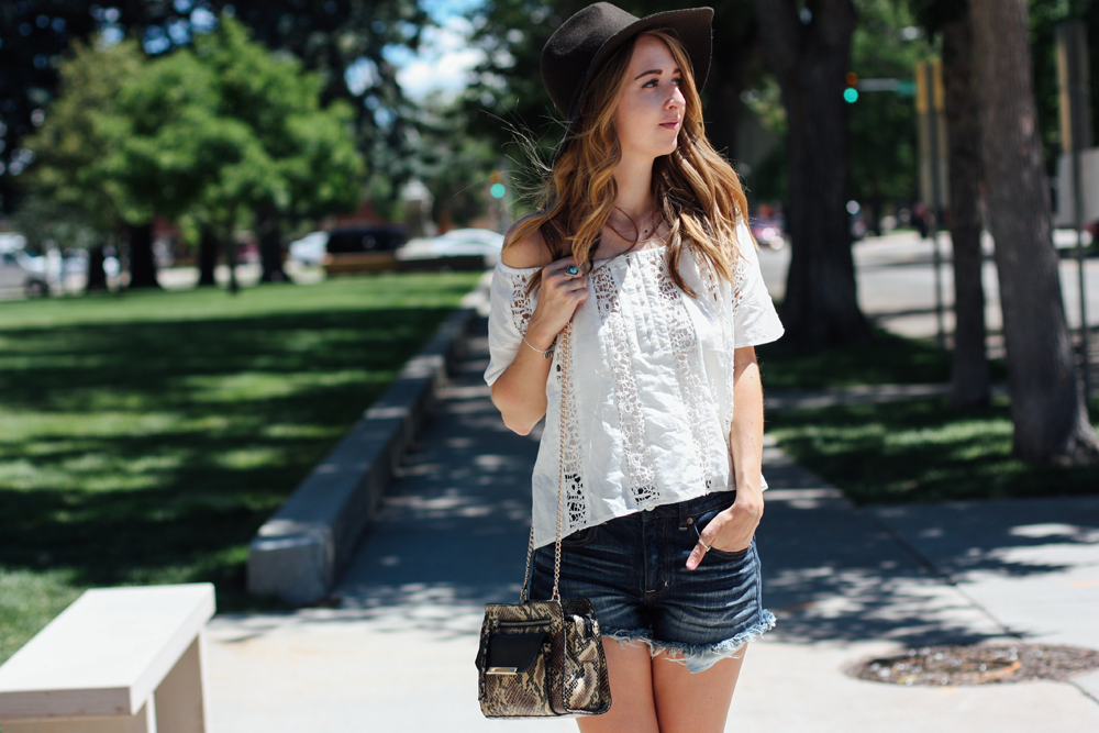 Forever 21 off-the-shoulder blouse, American Eagle hat and denim shorts, and JustFab handbag via truelane.png
