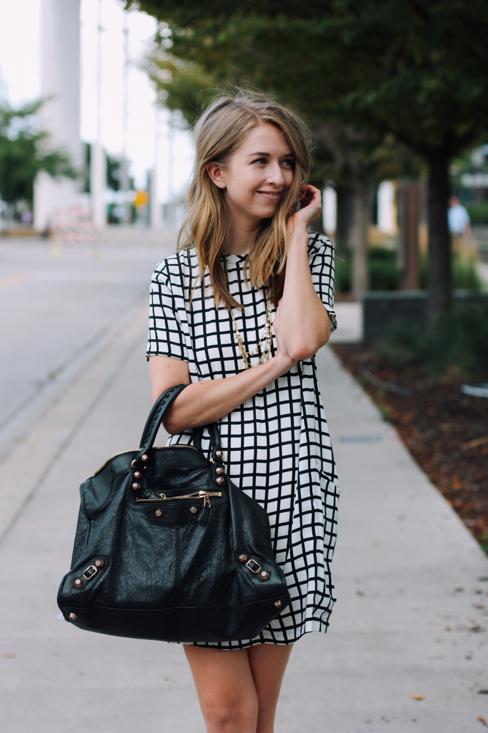 LOFT necklace, Abercrombie dress, Balenciaga tote via truelane.png