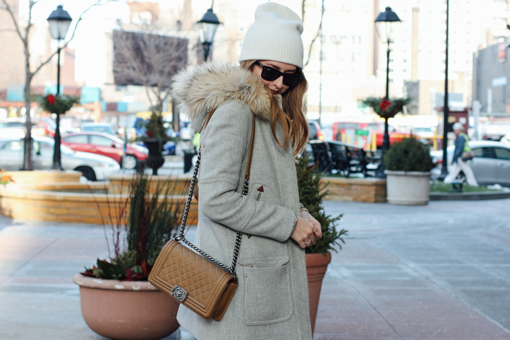 Free People beanie, Chanel boy bag, J.Crew chateau parka, Molly Bracken Christmas sweater via truelane.png