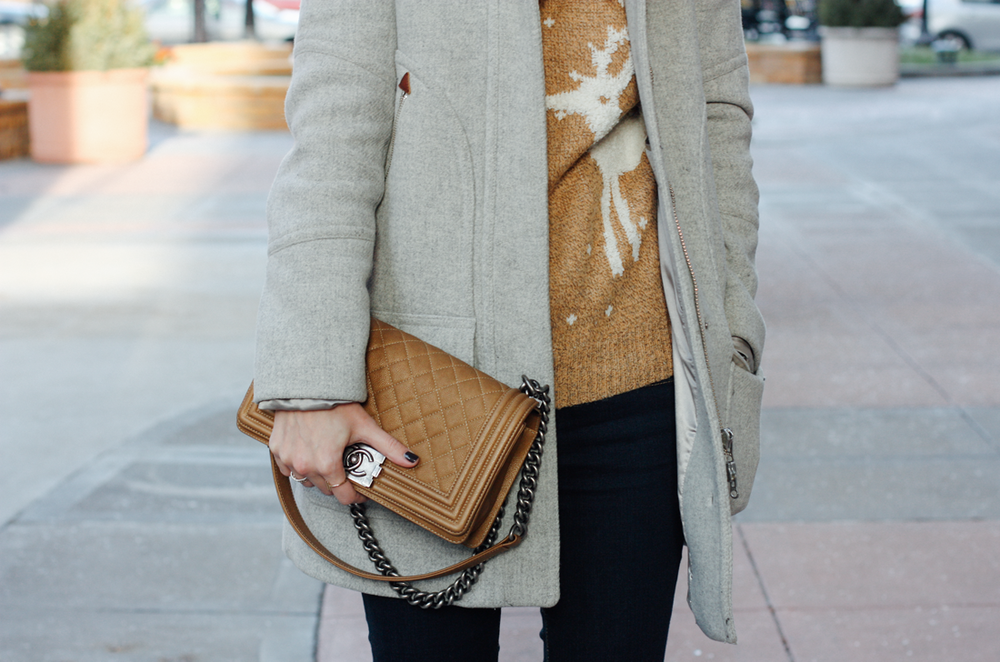Molly Bracken Christmas sweater, J.Crew chateau parka in grey, camel Chanel boy bag via truelane.co.png