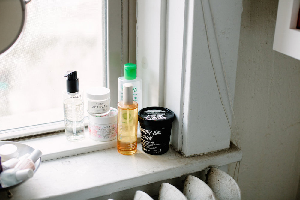 Some can't-live-withouts: MAC  Cleanse-Off Oil , Fresh's  Rose face mask , the  Herbivore Activate face mask , Moroccanoil  Dry Body Oil , Simple  Micellar water , and  LUSH body lotion .