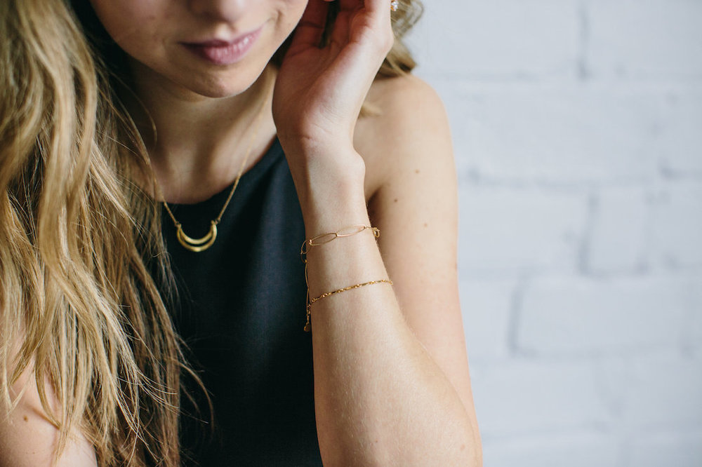 The    Mae necklace   ,    Amie bracelet   , and    Miel bracelet
