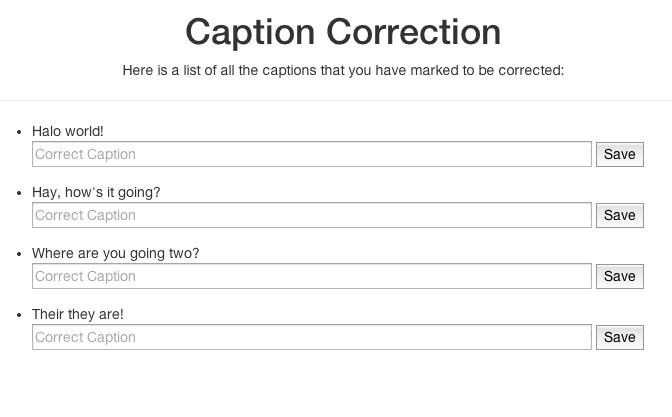 Caption correction part of the Web UI.