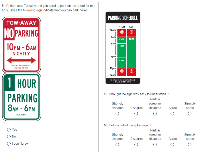 Questions asked for each sign, including the treatment and control parking signs.