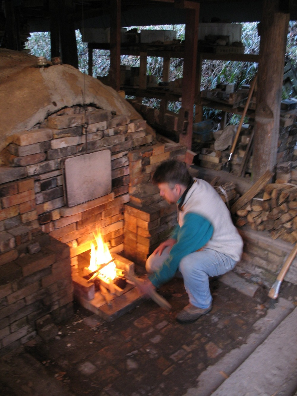 Lighting the kiln