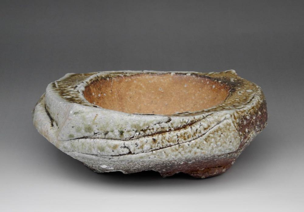 Ishi-ike (stone pond) Natural ash glaze. $300. Width: 18cm x 18cm