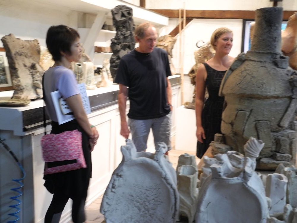 Laura, Bill and Kuni observing work at Peter Callas's studio.