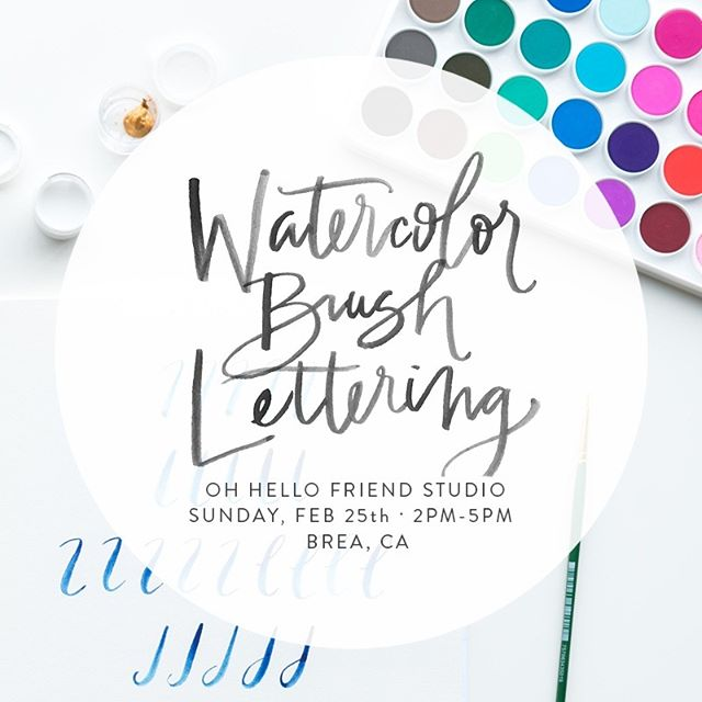 @nicolemiyuki is back teaching watercolor brush lettering at the studio February 25th from 2-5pm! Head over to our website to learn more, and you can sign up at http://nicolemiyuki.com/shop 🎨 ❤️ #brushlettering #watercolorlettering #workshops #letteringworkshops