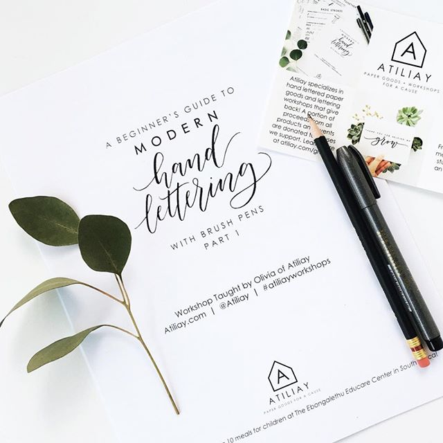 HI FRIENDS! We have a few spots left for our modern brush lettering class tomorrow with @atiliay, $57 per student and you'll take home all the materials you need to get started in lettering :) Sign up at atiliay.com 🌻🌷💐 Happy Friday!