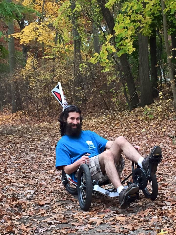 Mike triking out in the woods.