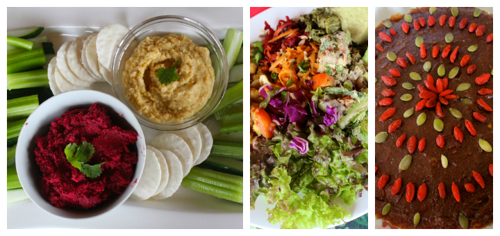 vegan holiday dish collage