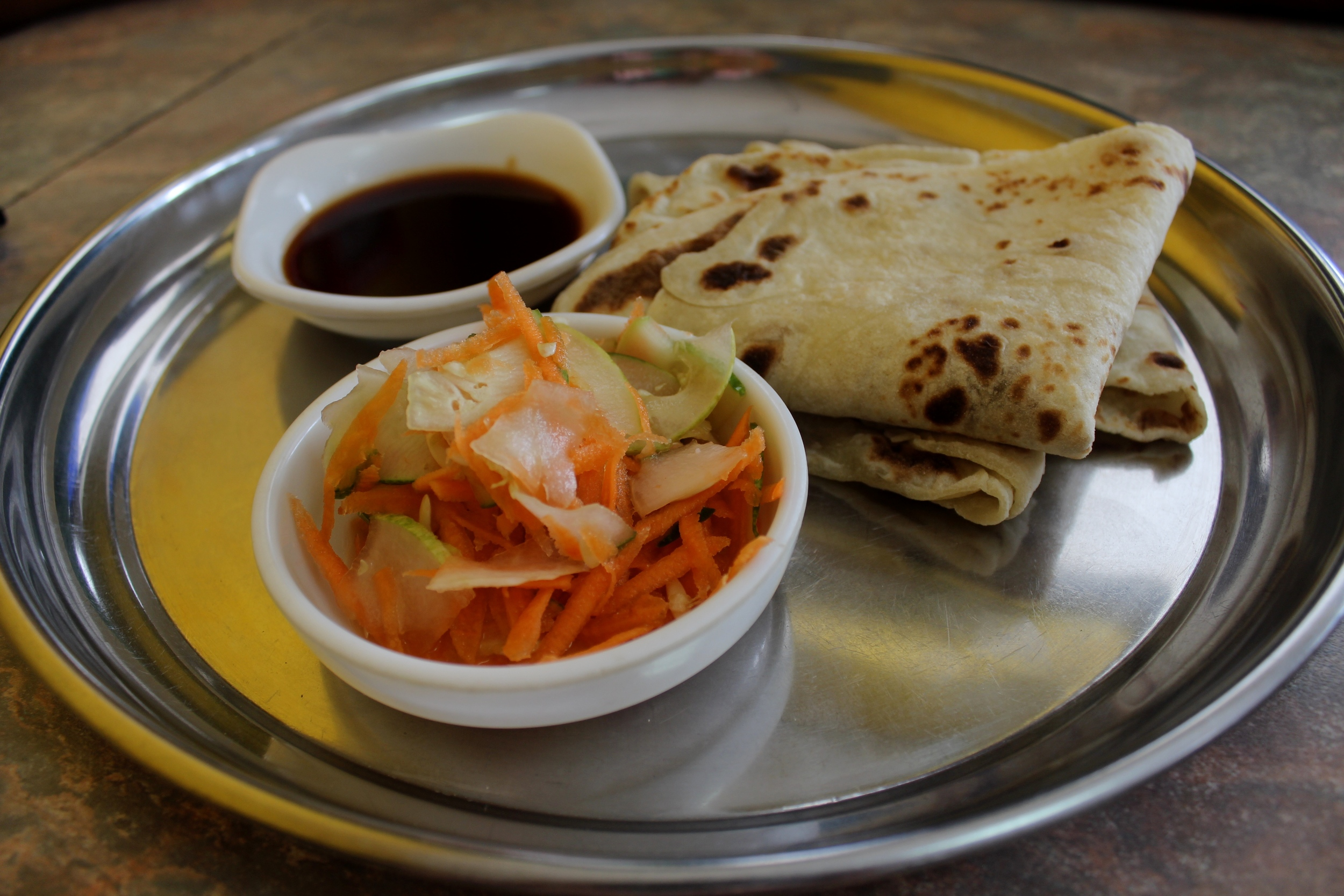 Roti, salad and tamarind chutney