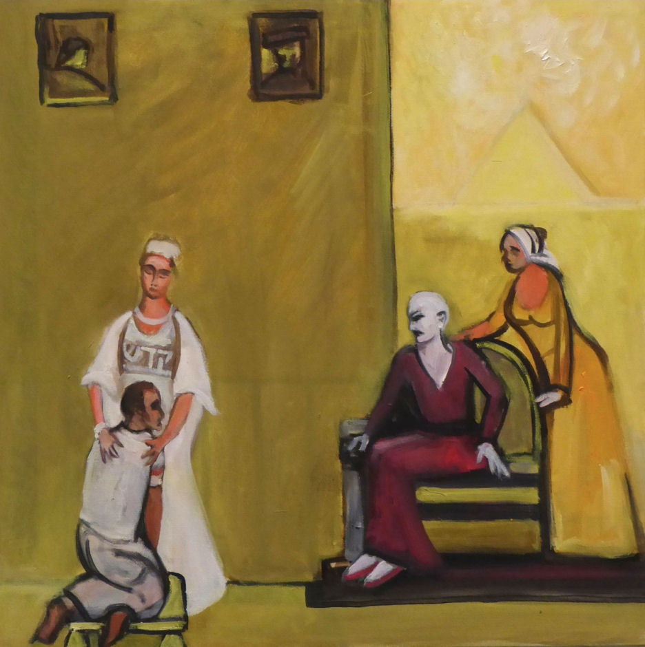 Richard McBee, Asenath Brings Joseph Home to Mr. and Mrs. Potiphar, from The Story of Asenath, 2014, oil on canvas, 24 x 24 in. Courtesy of the artist.
