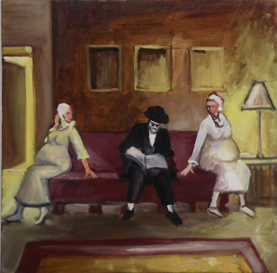 Richard McBee, Leah and Rachel Pregnant, from The Story of Asenath, 2014, oil on canvas 24 x 24 in. Courtesy of the artist.