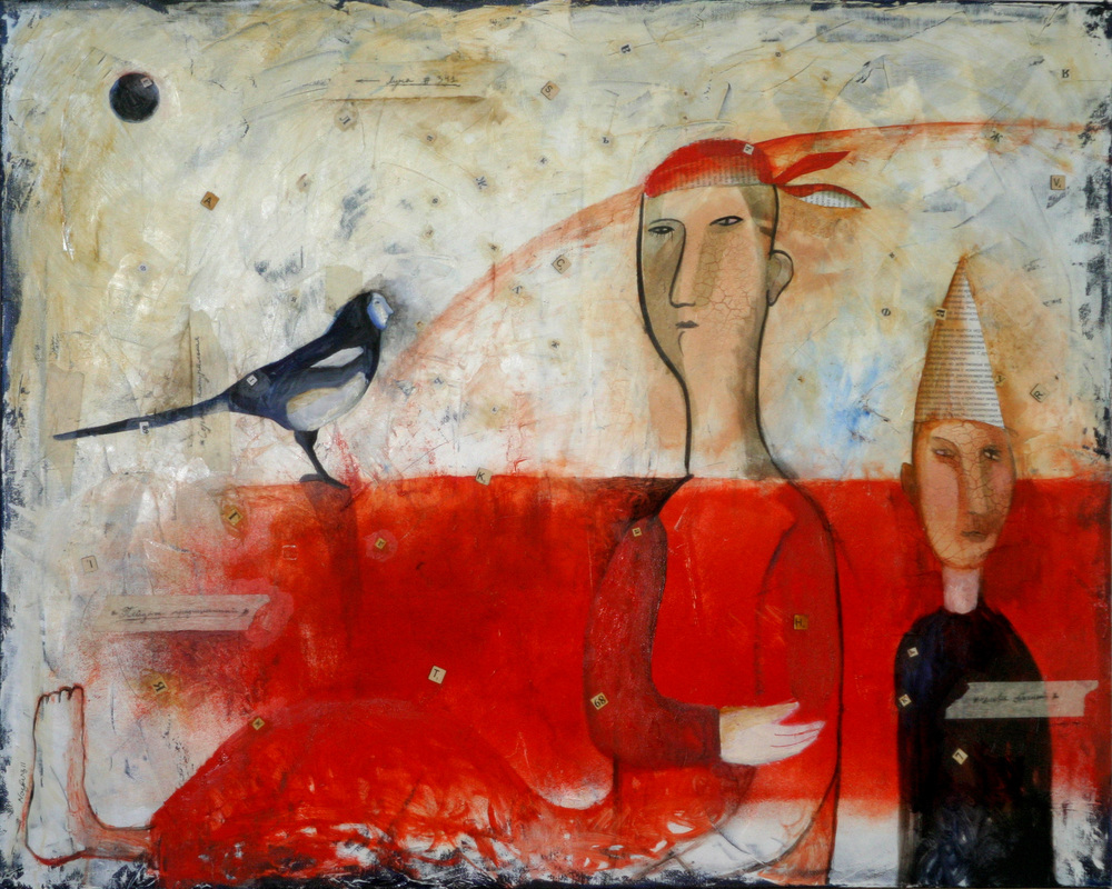 Yevgenia Nayberg, Bird Dictionary, 2011, oil and collage on canvas, 24 x 30 inches. Courtesy of the artist.