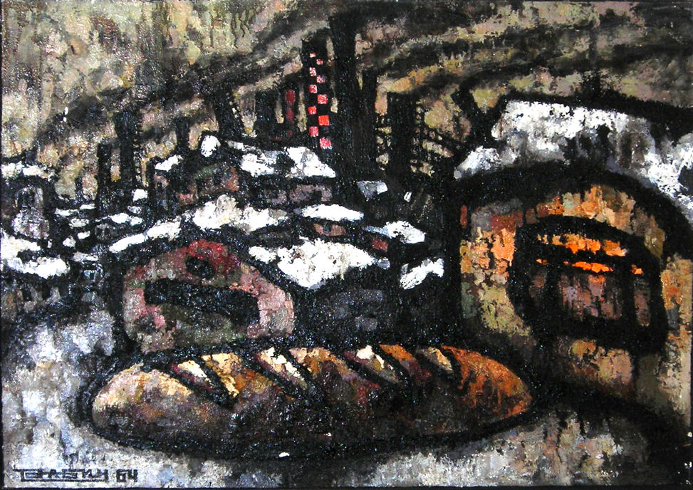 Oscar Rabin (Russian, b. 1928), Bread and Factor, 1964, oil on canvas, 28 x 39 inches. HHAR 1075.