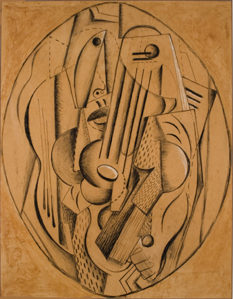 Diego Rivera (Mexican, 1886-1957), Cubist Composition, 1915, charcoal, pencil, chalk on paper, 23 1/4 x 18 inches. Gift of Vivane Bregman. HHAR 4508.