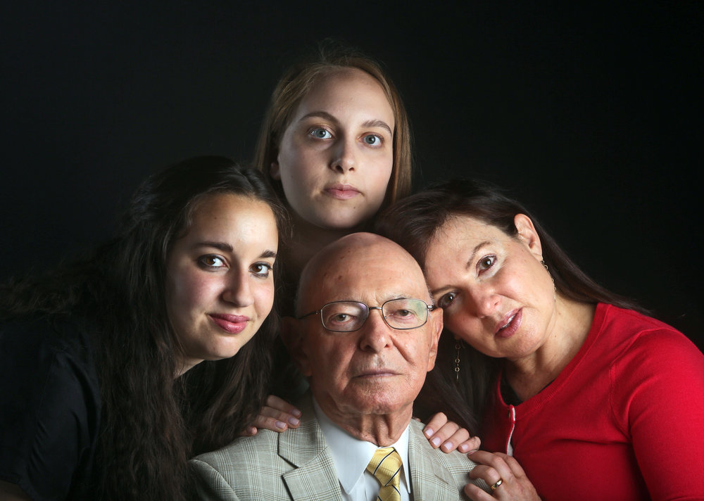 Seth Harrison, Mark Koller, 84, of Mount Kisco, with his daughter Naomi, 54, of Chappaqua, and his granddaughters Arianna, 23, and Liora, 19, May 14, 2015, digital photographic print. Courtesy of the photographer.