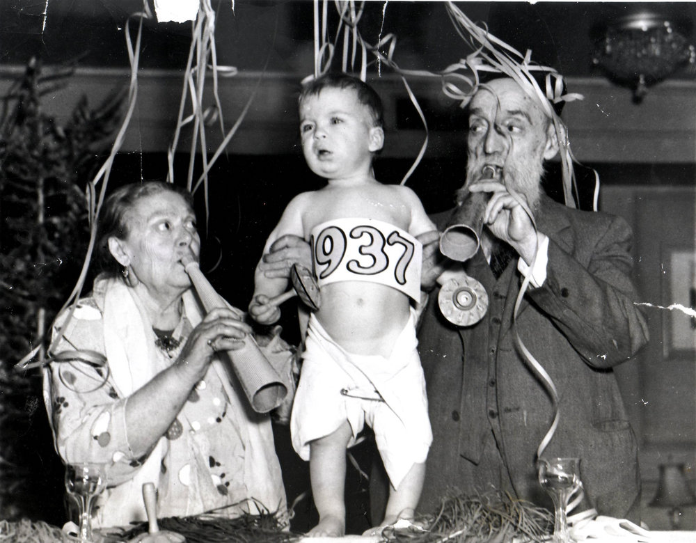 Residents ring in the New Year, 1937.