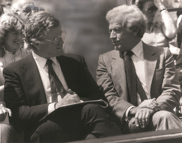Jacob Reingold, on the right, with Senator Edward M.(Ted) Kennedy at the dedication of the Elma and Milton A. Gilbert Pavilion in September 1991.