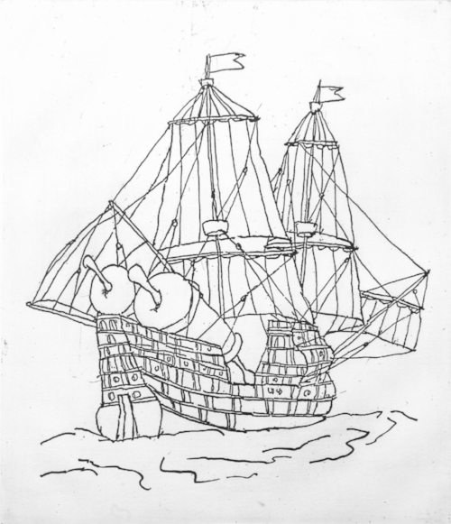 Mark Podwal, 1492, 2005, etching, 17 x 14 in. Courtesy of the artist.