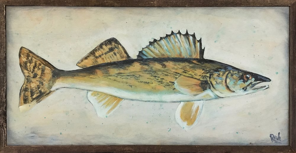 Pickerel (Walleye)    Acrylic on birch w/barnwood frame 36x20