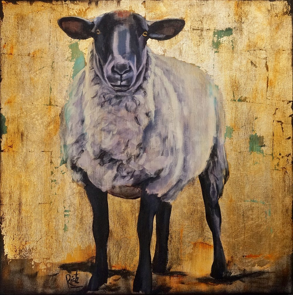 White Sheep  Acrylic and gold leaf on canvas 36x36