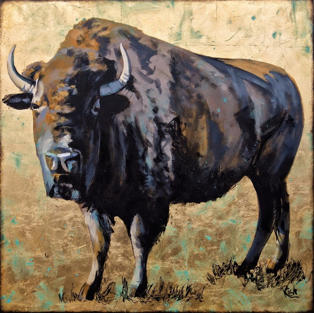 Bison    Acrylic and gold leaf on canvas   36x36